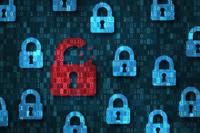 Security breach, system hacked alert with red broken padlock icon showing unsecure data under cyberattack, vulnerable access, compromised password, virus infection, internet network with binary code